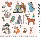 tribal forest animals vector... | Shutterstock .eps vector #592096067