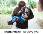cute little boy on a walk with...   Shutterstock . vector #592099493