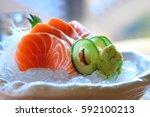 salmon sashimi | Shutterstock . vector #592100213