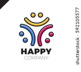 three smile people logo   happy ... | Shutterstock .eps vector #592105577