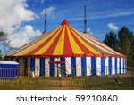 striped circus tent  white  red ... | Shutterstock . vector #59210860