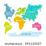 colorful world map. continents... | Shutterstock .eps vector #592120337