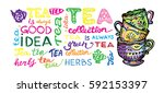 hand drawn tea time collection. ... | Shutterstock .eps vector #592153397