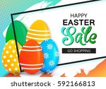 happy easter sale banner with... | Shutterstock .eps vector #592166813