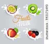 fruit splashing in milk... | Shutterstock .eps vector #592171493