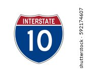 interstate highway 10 road sign  | Shutterstock .eps vector #592174607