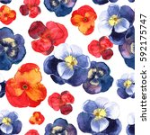 floral seamless pattern with... | Shutterstock . vector #592175747