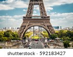 eiffel tower in paris  france.... | Shutterstock . vector #592183427