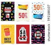 poster of sale in color set... | Shutterstock .eps vector #592188107