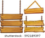 vector wooden signs isolated on