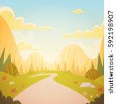 mountain range spring landscape ... | Shutterstock .eps vector #592198907