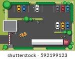 bad city parking blocking cars... | Shutterstock .eps vector #592199123