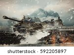 3d illustration soviet battle... | Shutterstock . vector #592205897