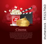 red cinema movie design poster... | Shutterstock .eps vector #592217063