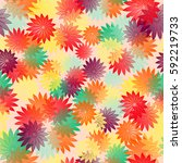 summer bright floral seamless... | Shutterstock .eps vector #592219733