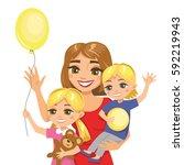 illustration of happy family.... | Shutterstock .eps vector #592219943