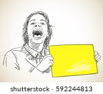 sketch of screaming girl... | Shutterstock .eps vector #592244813