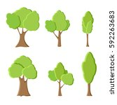 set of different green trees.... | Shutterstock .eps vector #592263683