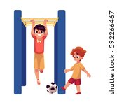 two boys playing football and... | Shutterstock .eps vector #592266467