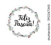 happy easter in spanish hand... | Shutterstock .eps vector #592267343