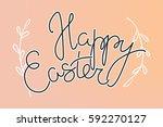 happy easter lettering for... | Shutterstock .eps vector #592270127