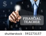 business man pointing hand on... | Shutterstock . vector #592273157