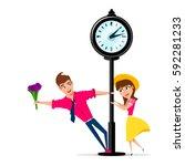 girlfriend and boyfriend in the ... | Shutterstock .eps vector #592281233