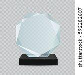 glass transparent trophy award. | Shutterstock .eps vector #592282607