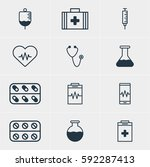 illustration of 12 medicine... | Shutterstock . vector #592287413