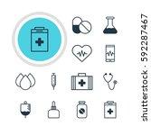 illustration of 12 medicine... | Shutterstock . vector #592287467