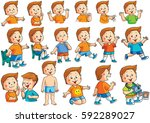 illustration collection of boy... | Shutterstock . vector #592289027