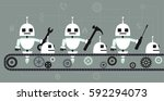 robots building robots on a... | Shutterstock .eps vector #592294073