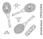 set of tennis equipment ... | Shutterstock .eps vector #592312403