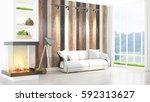 modern bright interior . 3d... | Shutterstock . vector #592313627
