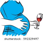 pregnant woman drinking wine... | Shutterstock .eps vector #592329497