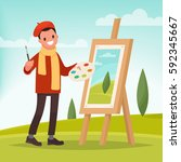 artist paints a picture of... | Shutterstock .eps vector #592345667