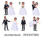 set of characters bride and... | Shutterstock .eps vector #592347383
