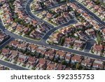 aerial view of suburban homes... | Shutterstock . vector #592355753