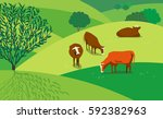 green landscape. freehand drawn ... | Shutterstock .eps vector #592382963