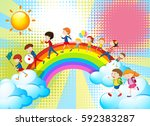 children playing music in band... | Shutterstock .eps vector #592383287