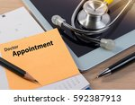 close up of doctor appointment  ...   Shutterstock . vector #592387913