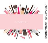 makeup cosmetics tools on... | Shutterstock .eps vector #592399307