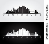 Stock vector vancouver skyline and landmarks silhouette black and white design vector illustration 592401353