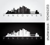 Stock vector vancouver skyline and landmarks silhouette black and white design vector illustration 592401353