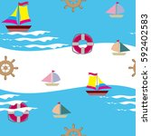 seamless baby pattern with sea... | Shutterstock .eps vector #592402583