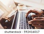 businessman using laptop... | Shutterstock . vector #592416017