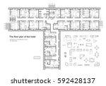 standard hotel furniture... | Shutterstock .eps vector #592428137