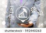 oil industry 4.0 integration... | Shutterstock . vector #592440263