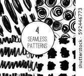 set of seamless hand drawn...   Shutterstock .eps vector #592446773