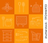set of linear icons beekeeping. ... | Shutterstock .eps vector #592446953